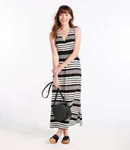 Summer Knit Maxi Dress, Sleeveless Variegated Stripe